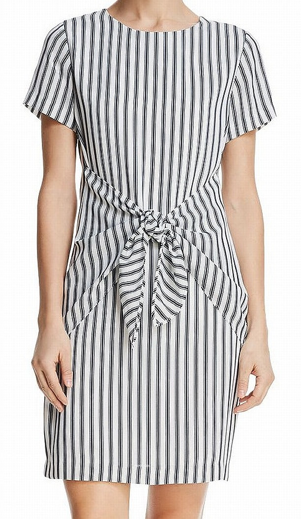 Crepe Striped tie front dress.