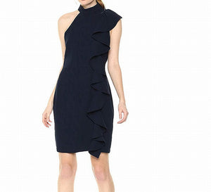 Sheath Ruffled Mock Neck Dress