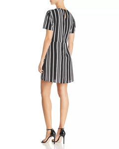 Black white striped Dress with Tie front.