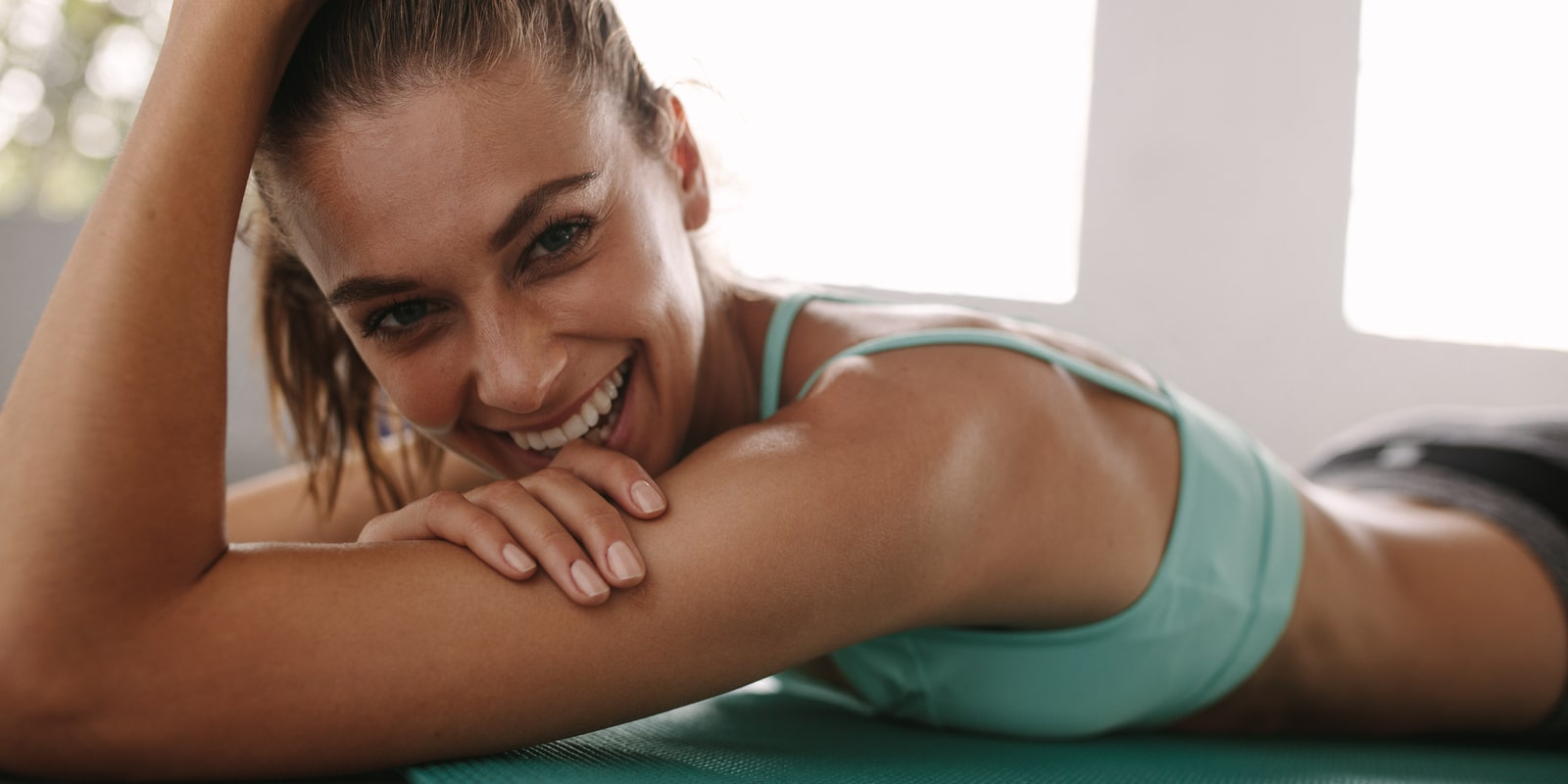 Woman smiling after her workout