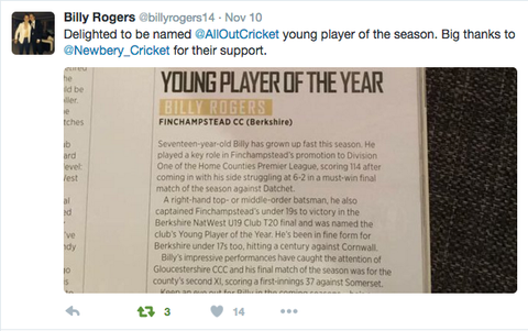 Billy thanked Newbery via Twitter