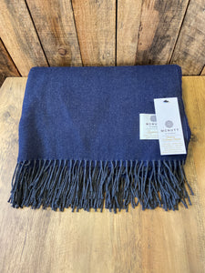 Lambs Wool Throw - Slate Navy