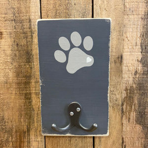 Paw Print Single Coat Hook - Grey