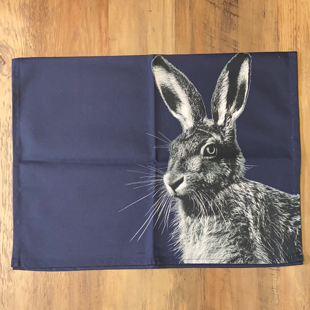 Hare Tea Towel - Blackberry