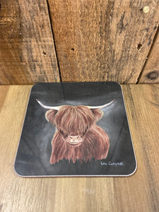 Highland Cow Coaster - Black