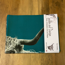 Load image into Gallery viewer, Highland Cow Tea Towel - Teal