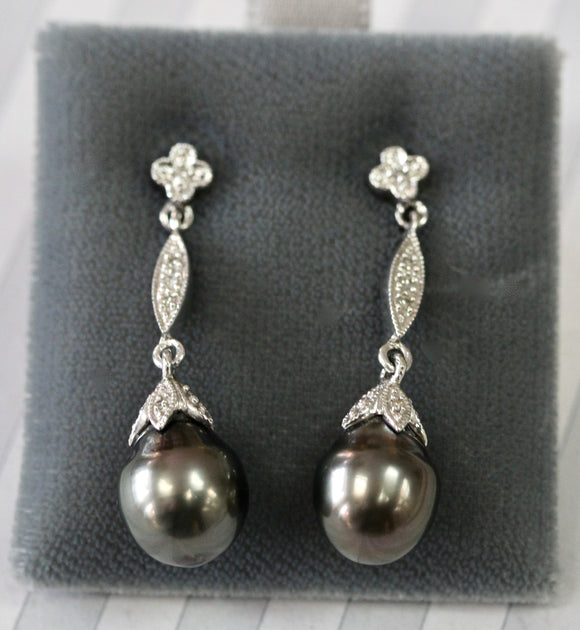 Black Pearl & Diamond Drop Earrings ~ Elegant