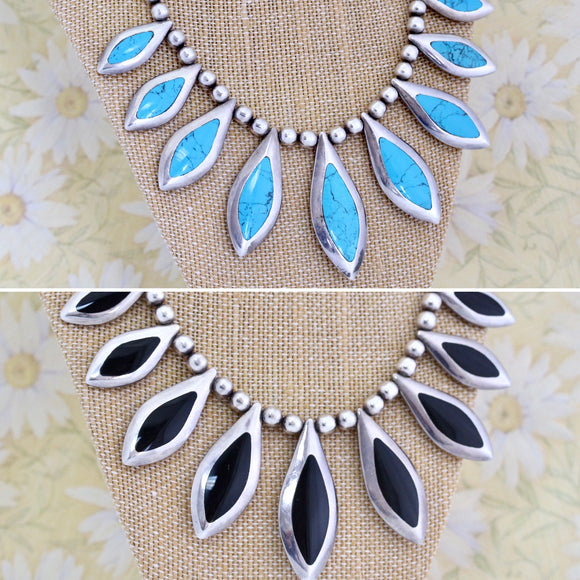 Unique ~ Reversible Turquoise & Onyx Necklace