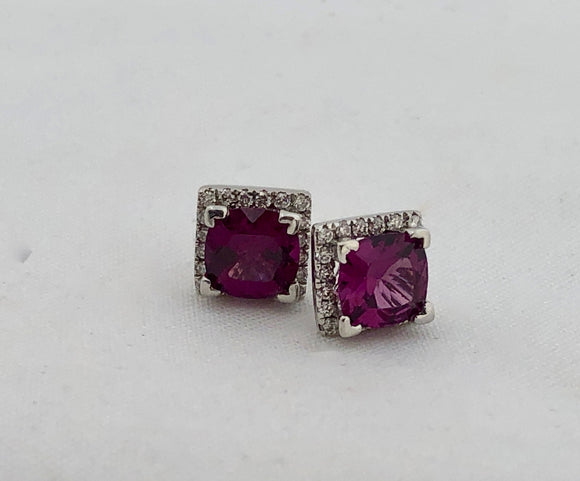 Grape Garnet and Diamond Earrings