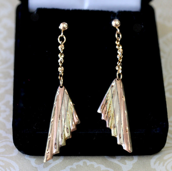 Lovely ~ Drop Style Earrings in Rose, White & Yellow Gold