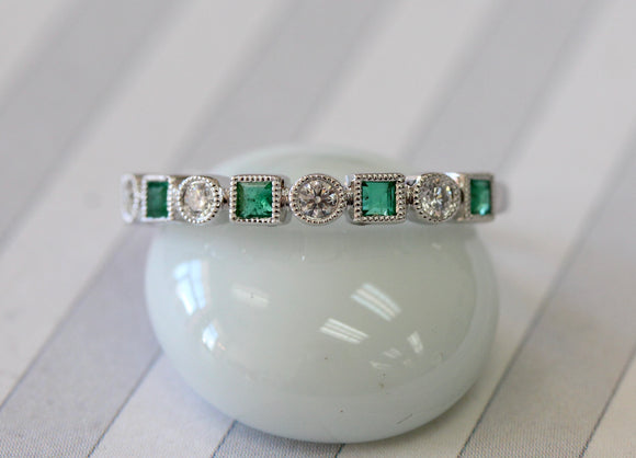 Trendy ~ Emerald & Diamond Band ~ 2 Available