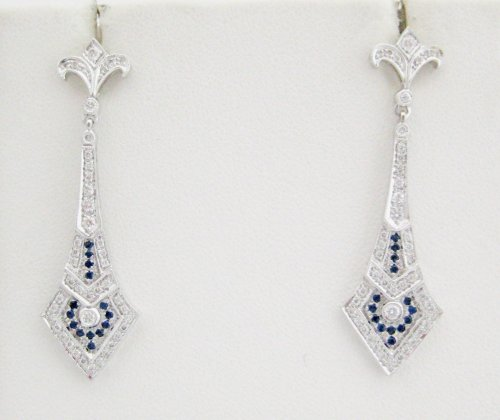 Diamond with Sapphire Detail Drop Earrings