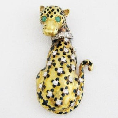 Gold and Enamel Leopard Pin
