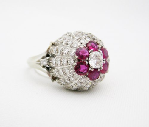 Dome Shaped Ruby and Diamond Pave Ring
