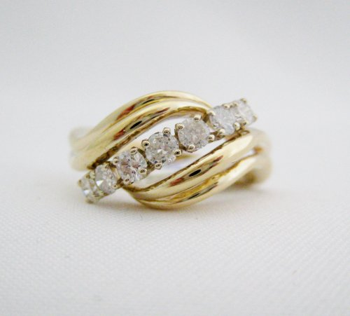 Domed Ring with Center Channel of Diamonds