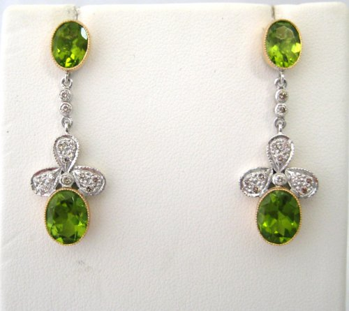 Double Bezel Set Peridot Drop Earrings with Diamonds