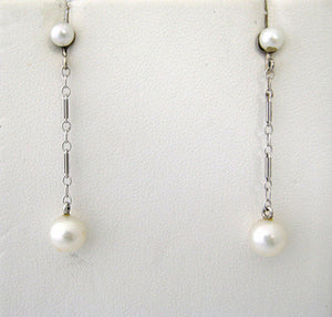 Double Cultured Pearl Drop Earrings