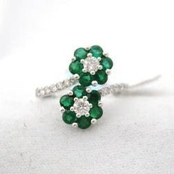 Double Emerald and Diamond Flower Ring