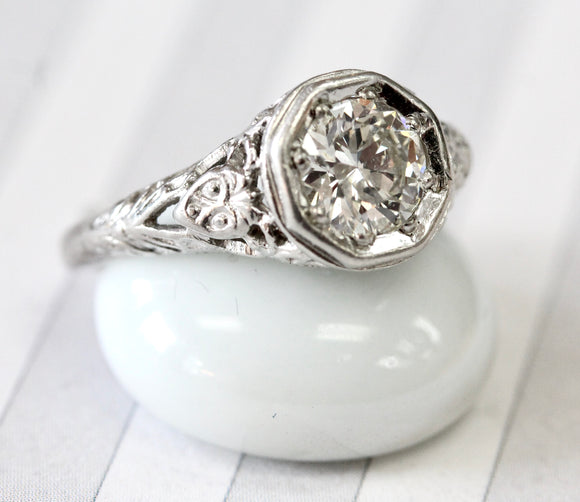 Circa 1920's ~ Diamond Engagement Ring, Platinum