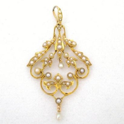 Edwardian Seed Pearl and Gold Pendant