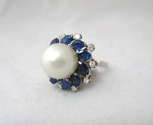 Pearl, Sapphire, and Diamond Cocktail Ring