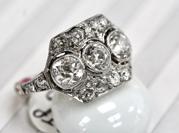 Beautiful ~ HANDMADE Antique Platinum Diamond Ring