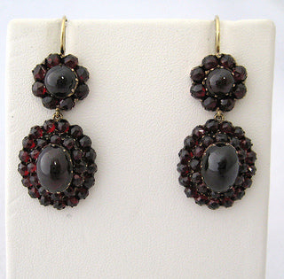 Victorian Czechoslovakia Cabochon and Faceted Garnet Earrings