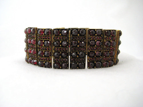 Wide Antique Garnet Bracelet
