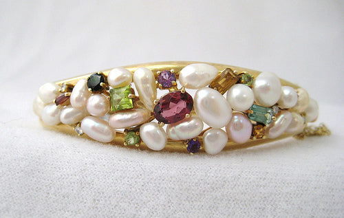 Encrusted Pearl and Gem Stone Bangle