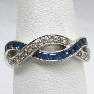 Eternity Sapphire and Diamond Entwined Ring