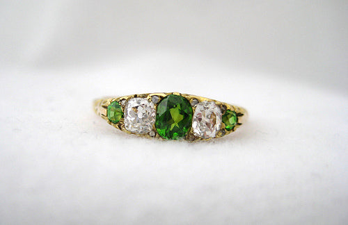 Antique Green Garnet and Diamond Ring