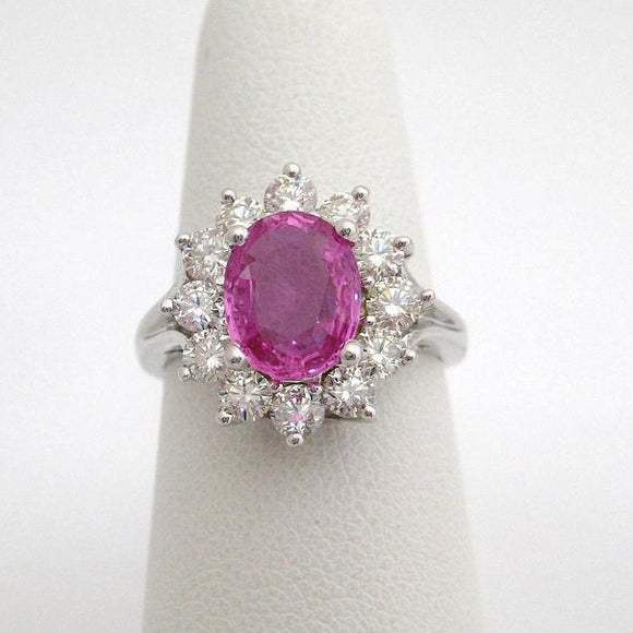 2 Carat Oval Pink Sapphire Ring