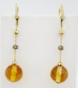 Faceted Citrine and Diamond Hanging Earrings