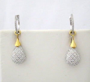 Tear Drop Pave Diamond Hoop and Drop Earrings