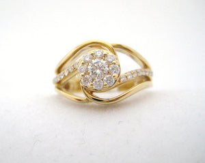 Swirl Diamond and 14k Yellow Gold Ring