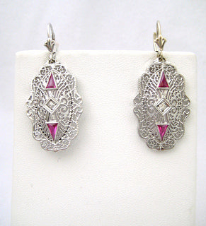 Filigree with Diamond and Red Stone Drop Earrings
