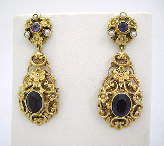 Edwardian Amethyst and Pearl Drop Earrings