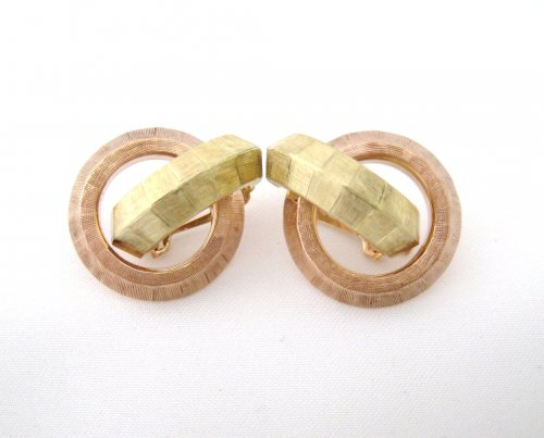 Florentine Rose and Green Brushed Gold Earrings
