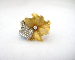 Flower Motif with Pave Diamonds Ring
