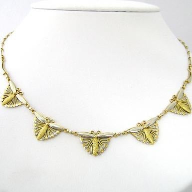 French Two Tone Gold Neckpiece with Butterfly Motif