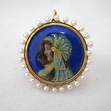 French Art Nouveau Enamel Pin and Pendant with Portrait of Woman