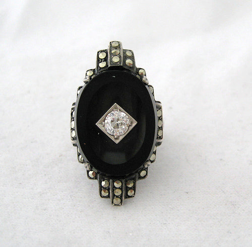 Art Deco Ring with Onyx, Sterling, and Marcasite