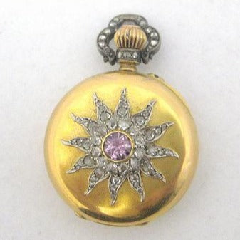 Edwardian Diamond and Pale Pinkish Amethyst Non Working Pocket Watch