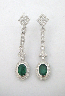 Diamond and Emerald Drop Earring