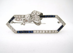 Vintage Alternating Rows of Diamond and Synthetic Sapphire Open Pin with Diamond Encrusted Bow