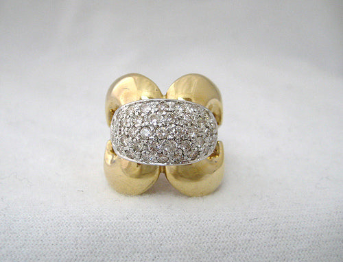 Yellow Gold and Pave Diamond Ring