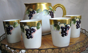 Hand Painted Limoges Cider Set with Grape Motif