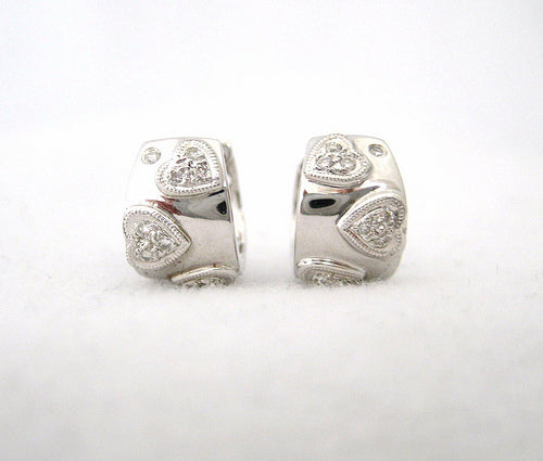 Heart Diamond Huggie Earrings