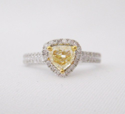Trillion Shaped Yellow Diamond Ring