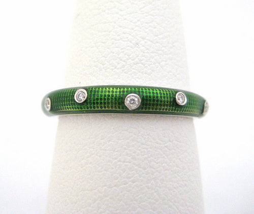 Hidalgo Green Enamel and Diamond Eternity Band
